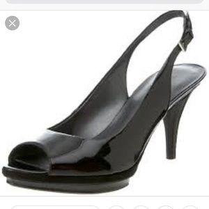 Nine West Sharina Peep-toe black dress shoe